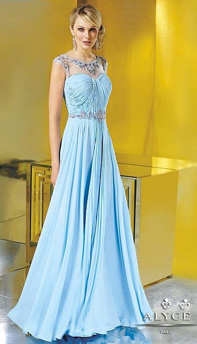 alyce jean de lys  flowy silky chiffon evening dress