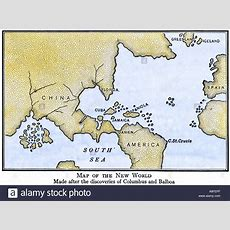New World Map Showing South America Attached To Asia As Assumed After Stock Photo, Royalty Free