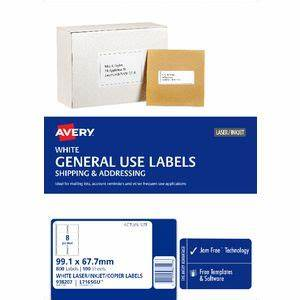 avery general use labels white 8 up 100 sheet officeworks With avery 8 up labels