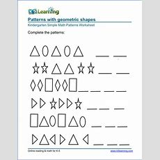 Free Preschool & Kindergarten Pattern Worksheets  Printable  K5 Learning