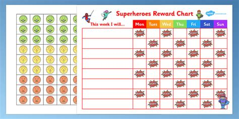 behaviour chart  boys superheroes reward sticker chart