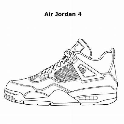 Jordan Coloring Pages Shoe Nike Air Drawing