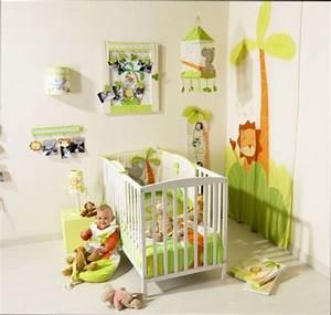 Chambre Fille : chambre bebe decoration jungle
