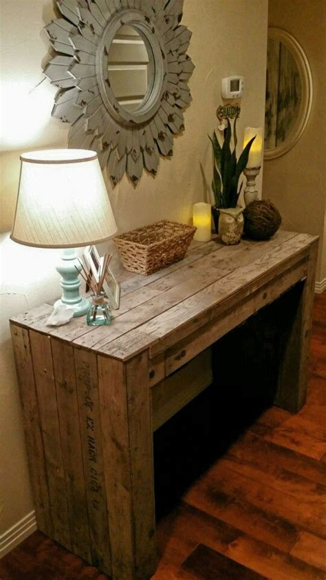 diy pallet entry table rustic floating shelves entry