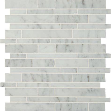 carrara marble mosaic tile ms international carrara white rsp interlocking 12 in x