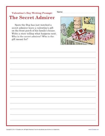 s day worksheet sectret admirer writing prompt