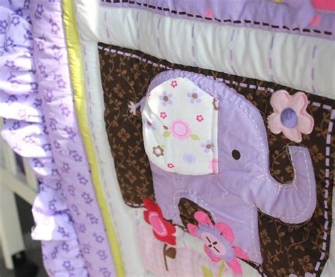 8 Pieces Baby Bedding Set Purple 3d Embroidery Elephant