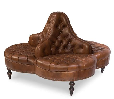 Circular Settee by Vintage Style Hotel Lobby Sofa 20s Cow Leather Wooden