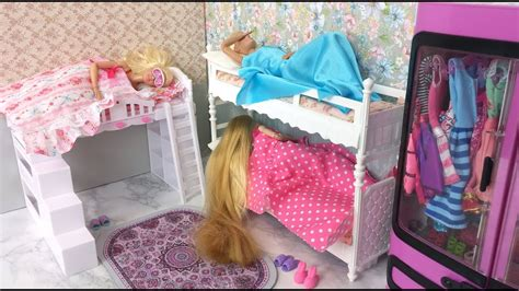 barbie  friends morning routine bunk bed bedroom