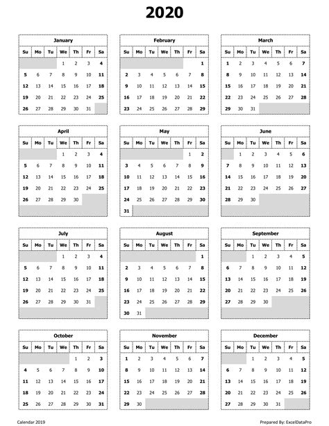calendar  year view printable calendar