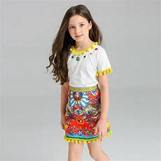 2016 European Tassel T Shirt+ Printed Skirt Girls Clothes Fashion Clothing Set Kids Clothesin