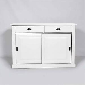 Buffet Bas Blanc : buffet bois blanc 2 portes coulissantes 2 tiroirs made in meubles ~ Teatrodelosmanantiales.com Idées de Décoration