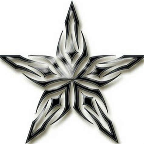 Grey And Black Tribal Star Tattoo Design