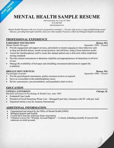 mental health counselor resume sle
