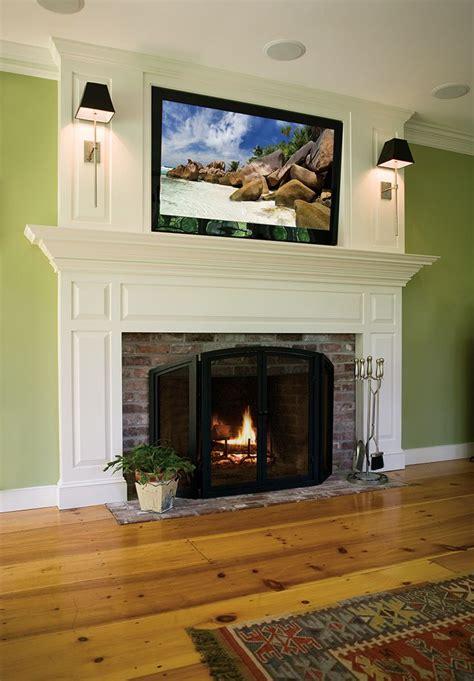 traditional custom fireplace mantel  flat screen tv