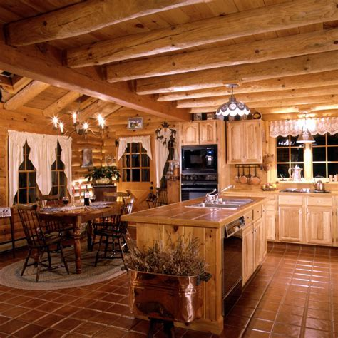 Log Home Kitchen ~ warmth of tiles for island counter and