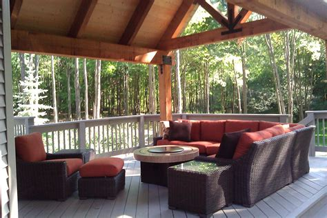 traditional outdoor living wood deck structure seating