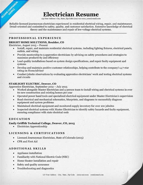 Electrician Resume Sample & Writing Tips  Resume Companion. Microsoft Certificate Of Excellence Pics. Excel Spreadsheet Exercises For Beginners. Resume Example High School Graduate Template. Persuasive Essay Topics 6th Grade Template. Auto Body Estimate Template. Sample Of Event Proposal Sample Letter. Nursing Resume Objective Samples Template. Objective For A Receptionist Resume