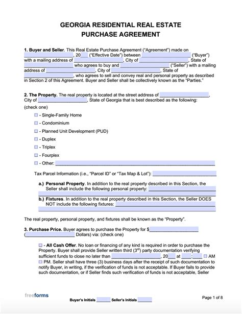 georgia real estate purchase agreement template
