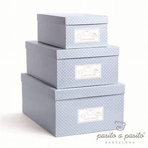 Boite Rangement Bebe : pasito a pasito set 3 boites de rangement bleu ~ Teatrodelosmanantiales.com Idées de Décoration