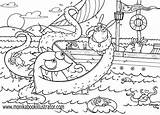 Coloring Sea Printable Monsters Monster Ocean Creature Sheets Adults Clipart Popular Detailed sketch template