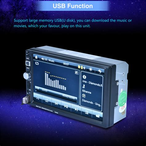 din car capacitive mp player gps rear view bluetooth