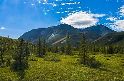 Landscape Tundra Mountains Trees Yt Clouds Flare
