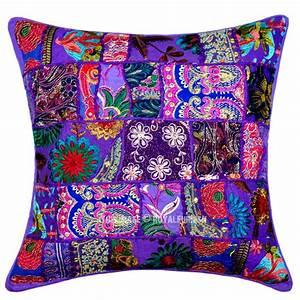 Purple, Decorative, And, Bohemian, Accent, Unique, Patchwork, Cotton, Pillow, Cover, 20x20