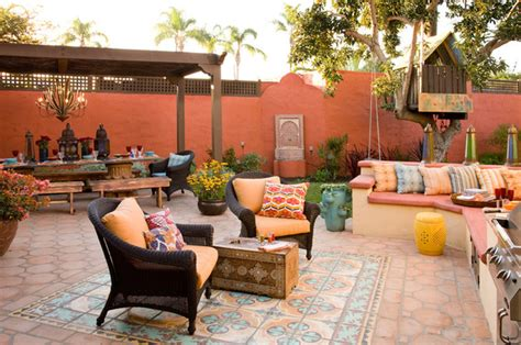 colorful moroccan outdoor living eclectic patio san