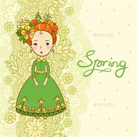 card spring flowers  girl   naturevectors design