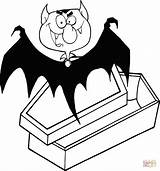 Dracula Coffin Vampire Coloring Count Drawing Pages Clip Cartoon Happy Clipart Waking Outlined Bat Coming Eyes Halloween Printable Vector Drawings sketch template