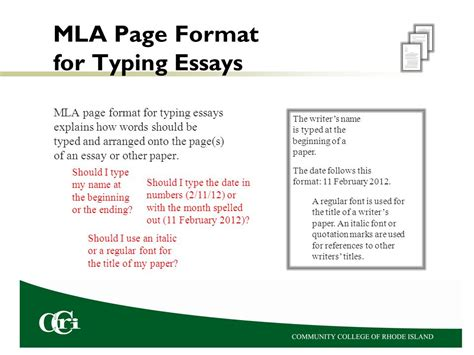 mla page format for essays ppt
