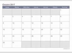 Octubre 2017 calendario 1 Printable 2018 calendar Free