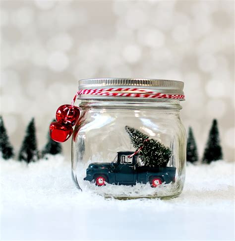 mason jar snow globes vintage cars trucks mason jar