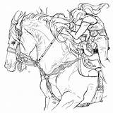 Barrel Racing Coloring Printable Adult Yahoo Horse Papers Horses Rodeo Character Printables sketch template