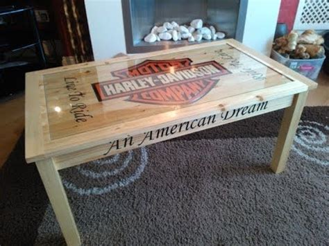 Make A Bench Out Of Pallets by Custom Cut Harley Davidson Coffee Table Youtube
