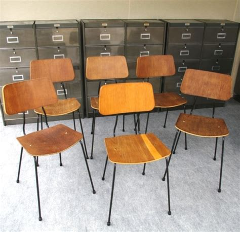 fournitures bureaux 6 chaises jacques hitier design 1950 bois et métal laque