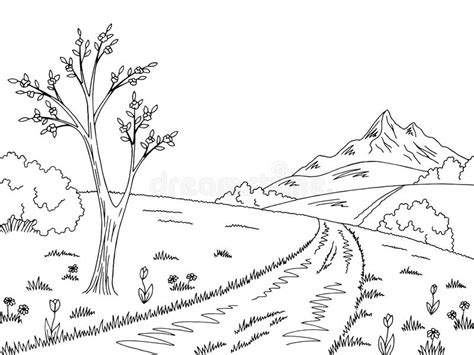Mountain Road Graphic Black White Spring Landscape Sketch