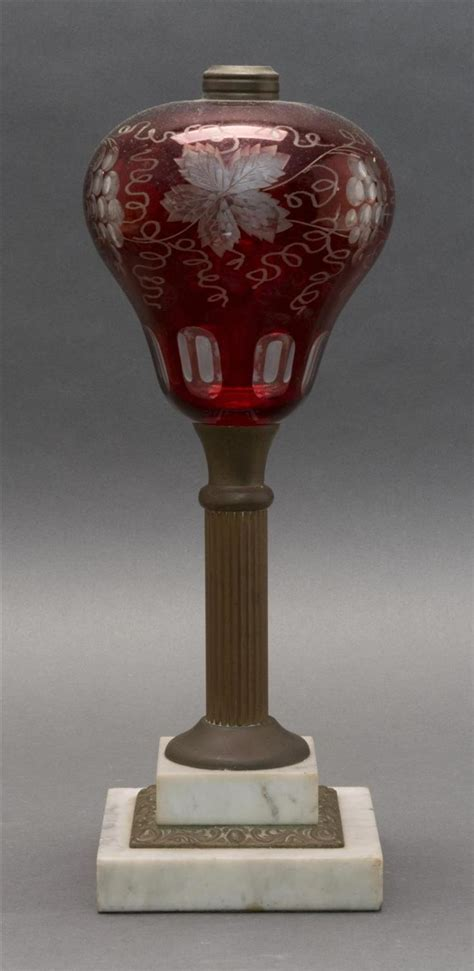 red glass table l bohemian glass table lamp red glass font etched with grape a