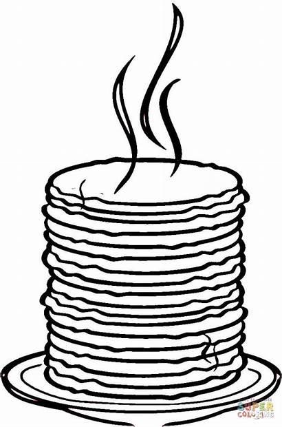 Pancake Colorear Dibujo Tortillas Dibujos Colorare Pila