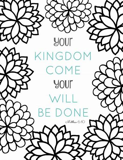 Bible Coloring Verse Pages Matthew Kingdom Come