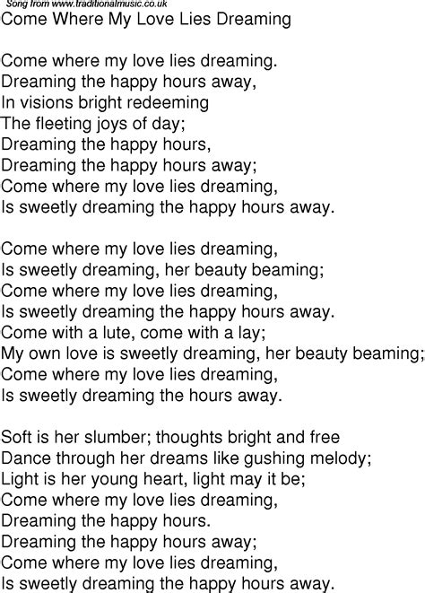 Old Time Song Lyrics For 01 Come Where My Love Lies Dreaming