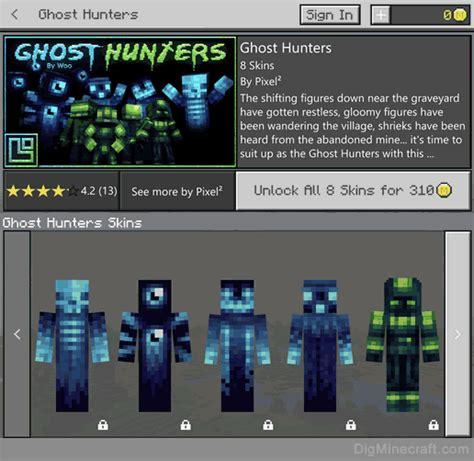 ghost hunters skin pack  minecraft