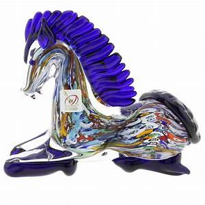 Murano Sculptures Murano Art Glass Millefiori Kneeling Horse