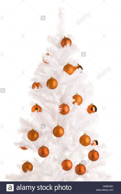 white christmas tree  orange decorations
