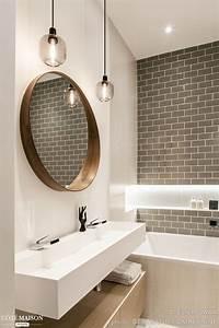 Miroir Rond Salle De Bain : id e d coration salle de bain le carrelage m tro couleur ~ Nature-et-papiers.com Idées de Décoration