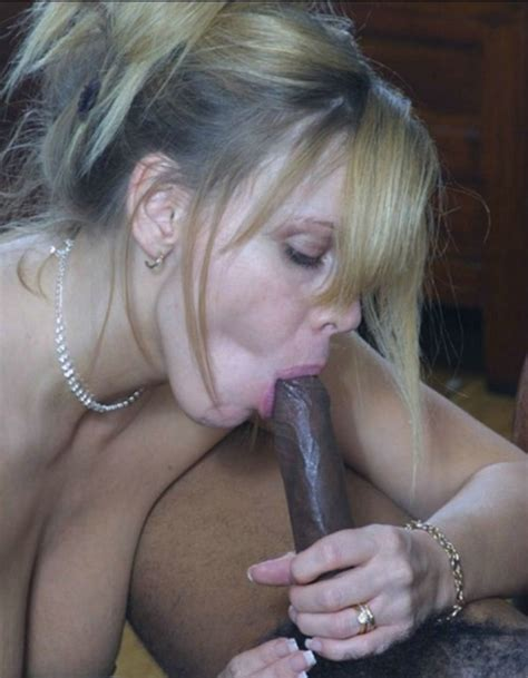 Interracial Blowjob Photo White Mom Sucking Black Cock