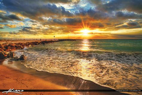 jupiter beach inlet park jetty sunrise royal stock photo