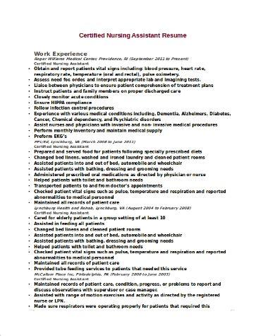 Certified Nursing Assistant Resume by Sle Cna Resume 9 Exles In Word Pdf