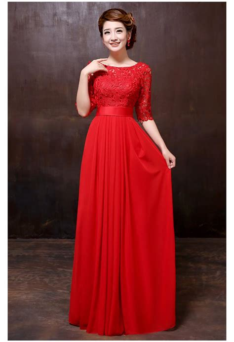 The New 2015 Red Wedding Dresses Long Toast The Bride Lace ...